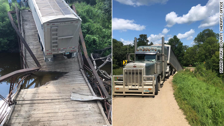 A North Dakota bridge built more than 100 years ago collapsed under the weight of a trailer carrying 42 tons of dry beans.