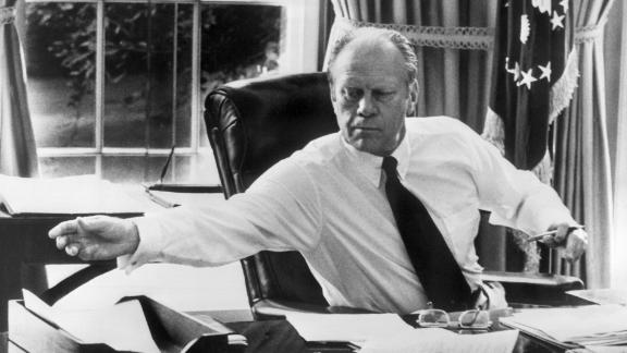 File picture showing late US President Gerald Ford at the White House in the Oval office in Washington, 17 October 1974. (STR/AFP/Getty Images)