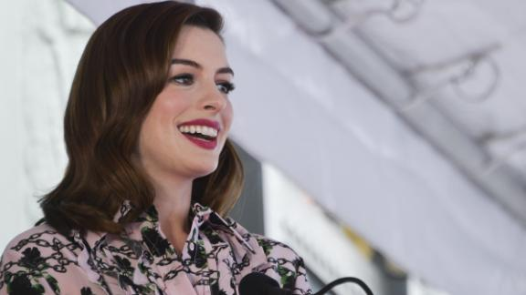 HOLLYWOOD, CALIFORNIA - MAY 09: Anne Hathaway speaks on stage while being honored with Star On The Hollywood Walk Of Fame on May 09, 2019 in Hollywood, California. (Photo by Rodin Eckenroth/Getty Images)
