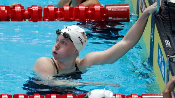Lilly King reacts after her women's 200m breaststroke heat at the World Swimming Championships in Gwangju, South Korea, on Thursday.