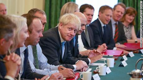 LONDON, ENGLAND - JULY 25: Prime Minister Boris Johnson presides over his first Cabinet meeting at 10 Downing Street on July 25, 2019 in London, England. Britain's New Prime Minister, Boris Johnson, appointed his Cabinet yesterday evening with 17 of Theresa May's Ministers replaced. The number of Leave supporting Ministers doubled from six to 12 and 31 Ministers are now entitled to attend Cabinet. (Photo by Aaron Chown - WPA Pool/Getty Images)