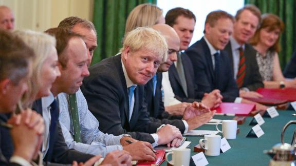 LONDON, ENGLAND - JULY 25: Prime Minister Boris Johnson presides over his first Cabinet meeting at 10 Downing Street on July 25, 2019 in London, England. Britain