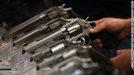 Smith & Wesson handguns are displayed during the 2015 NRA Annual Meeting & Exhibits on April 10, 2015 in Nashville, Tennessee.