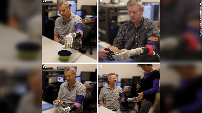 Walgamott performed several one- and two-handed daily living tasks while using the sensorized prosthesis, including moving an egg (A), picking grapes (B), texting on his phone (C), and shaking hands with his wife (D).