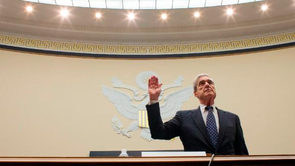 WASHINGTON, DC - JULY 24: (AFP OUT) Former Special Counsel Robert Mueller is sworn in before testifying before a House Judiciary Committee hearing about his report on Russian interference in the 2016 presidential election in the Rayburn House Office Building July 24, 2019 in Washington, DC. Mueller testified before the House Judiciary and Intelligence Committees. (Photo by Alex Brandon-Pool/Getty Images)