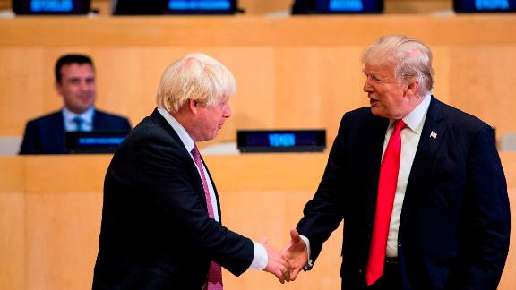 British Prime Minister Boris Johnson and US President Donald Trump at UN headquarters in New York on September 18, 2017.