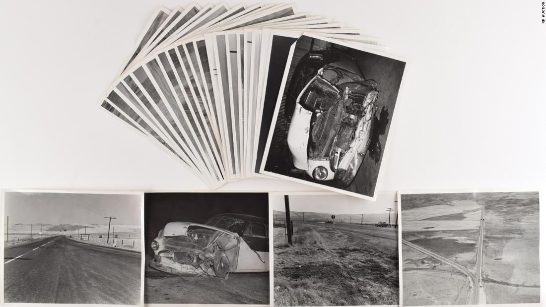 Never-released photos of James Dean's fatal car crash go up for auction next month