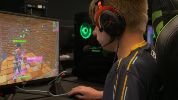 """Lion Krause, a 13-year-old player from Germany who goes by """"Lyght,"""" practices Fortnite before the World Cup this weekend where he qualified as a solo finalist."""
