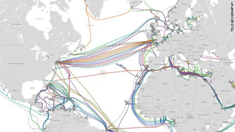 This map from TeleGeography shows undersea data cables which span the Atlantic Ocean.