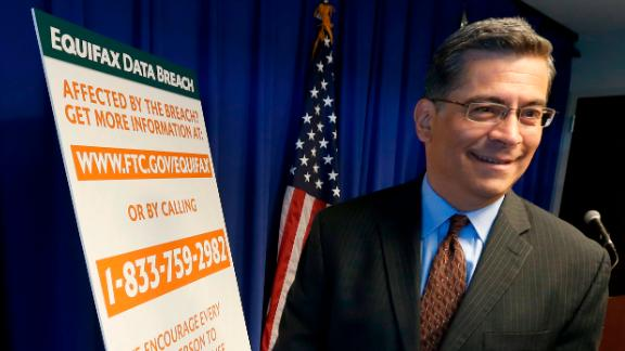 California Attorney General Xavier Becerra leaves a news conference after discussing the settlement reached with Equifax over a 2017 data breach.