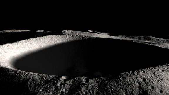 This is a permanently-shadowed crater on the Moon.