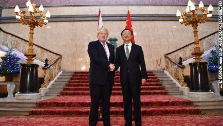 British Foreign Secretary Boris Johnson welcomes Chinese State Councillor Yang Jiechi as they meet for the UK-China Strategic Dialogue meeting on December 20, 2016 in London, England.
