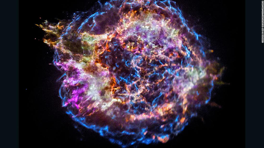 "This ""First Light"" image from NASA's Chandra X-ray Observatory shows the location of different elements in the Cassiopeia A supernova remnant."