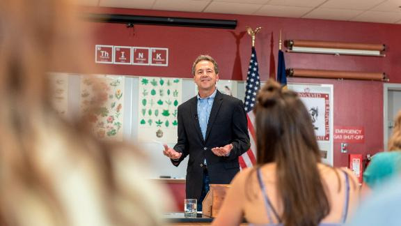 HELENA, MT - MAY 14: Governor Steve Bullock of Montana announces he is seeking the Democratic presidential nomination on May 14, 2019 in Helena, Montana. Bullock delivered his address to a small group of students and press in the science classroom of Helena High School, which he attended as a student.  (Photo by William Campbell/Corbis via Getty Images)