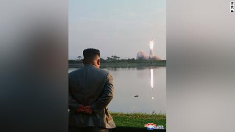 North Korean leader Kim Jong Un watching a missile launch on Thursday, July 25.