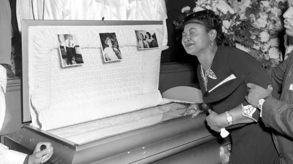 Mamie Till Mobley weeps at her son's funeral in 1955 in Chicago.