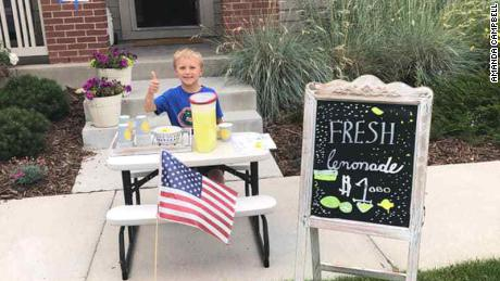 Brady Campbell set up a lemonade stand outside his house.