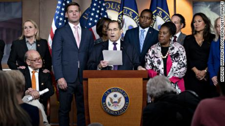 Representative Jerry Nadler, a Democrat from New York and chairman of the House Judiciary Committee, center, speaks during a news conference with Democratic members of the Judiciary Committee on Capitol Hill in Washington, D.C., U.S., on Friday, July 26, 2019. Raising the prospect of impeaching President Donald Trump, Nadler said his panel will ask a federal court Friday to force release of grand jury information from Robert Mueller's investigation. Photographer: Andrew Harrer/Bloomberg via Getty Images