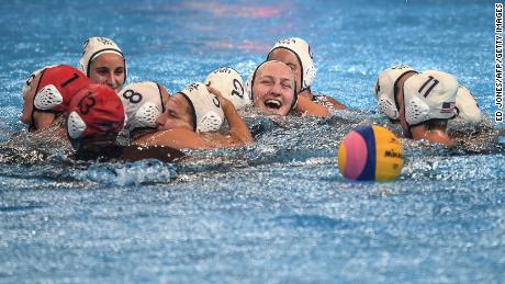 USA Team celebrated its victory over Spain at the FINA World Cup 2019.