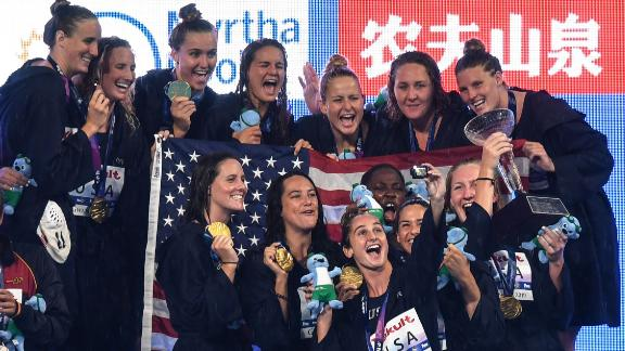 USA's players pose for a selfie as they celebrate their gold medal  on the podium of the women's water polo event at the 2019 World Championships at Nambu University Grounds in Gwangju, South Korea.