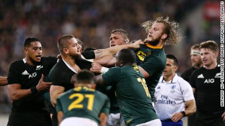 WELLINGTON, NEW ZEALAND - JULY 27: Dane Coles of the All Blacks gets in a scuffle with RG Snyman of the Springboks during the 2019 Rugby Championship Test Match between New Zealand and South Africa at Westpac Stadium on July 27, 2019 in Wellington, New Zealand. (Photo by Anthony Au-Yeung/Getty Images)