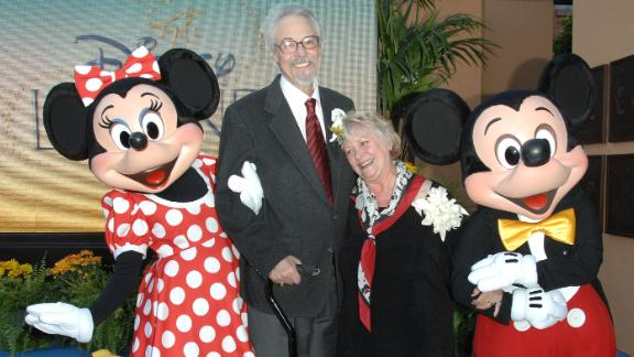 Wayne Allwine, the voice of Micky Mouse, and Russi Taylor, his wife and the voice of Minnie Mouse, with those characters at Walt Disney Studios on October 13, 2008. in Burbank, California.