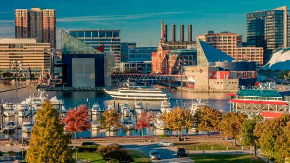 Baltimore Inner Harbor late afternoon lighting of ships and skyline, Baltimore, Maryland, shot from Federal Park Hill. (Photo by: Joe Sohm/Visions of America/Universal Images Group via Getty Images)