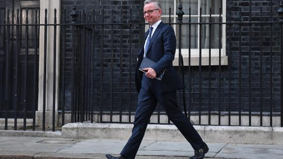 LONDON, ENGLAND - JULY 24: Michael Gove  leaves Number 10, Downing Street after being appointed Chancellor of the Duchy of Lancaster on July 24, 2019 in London, England. Boris Johnson took the office of Prime Minister of the United Kingdom of Great Britain and Northern Ireland this afternoon and immediately began appointing new Cabinet Ministers. Former Foreign secretary and leadership rival Jeremy Hunt returns to the back benches, along with Liam Fox, Jeremy Wright, Penny Mordaunt and Karen Bradley.  (Photo by Jeff J Mitchell/Getty Images)
