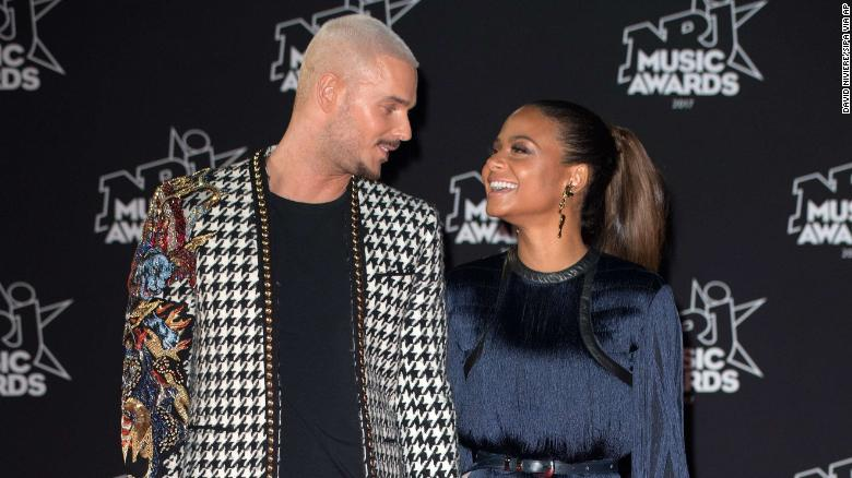 Singers Matt Pokora and Christina Milian at the 2017 NRJ Music Awards ceremony in Cannes, France.