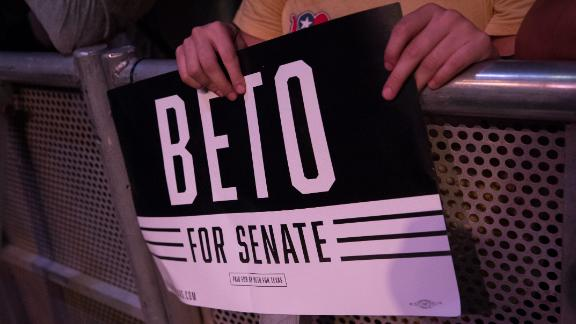 HOUSTON, TX - OCTOBER 08: A supporter holds a sign at a campaign rally for Democratic Senate candidate Beto O'Rourke at White Oak Music Hall on October 8, 2018 in Houston, Texas. O'Rourke is running against incumbent Republican Sen. Ted Cruz (R-TX) in the midterm elections. (Photo by Loren Elliott/Getty Images)