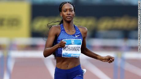 Dalilah Muhammad competing in the IAAF Diamond League Golden Gala at the Olimpico Stadium in Rome on June 6, 2019.