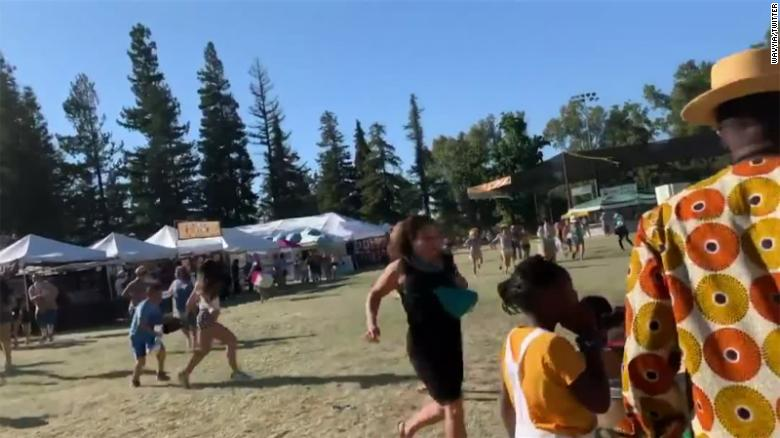 Another screengrab taken from video and uploaded to Twitter appears to show people scrambling at the Gilroy Garlic Festival.