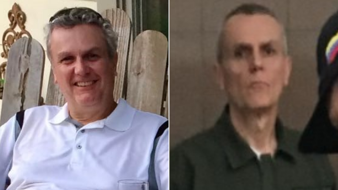 Tomeu Vadell is seen in an undated photo before his detention and in January 2019 in Caracas, Venezuela.