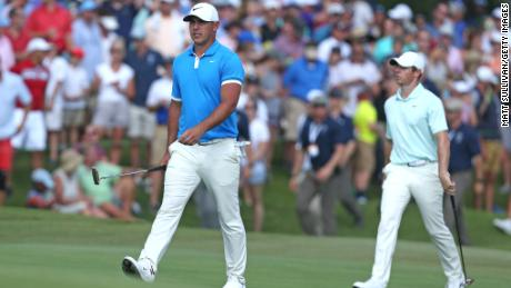 Brooks Koepka surged past Rory McIlroy with a final-round 65.