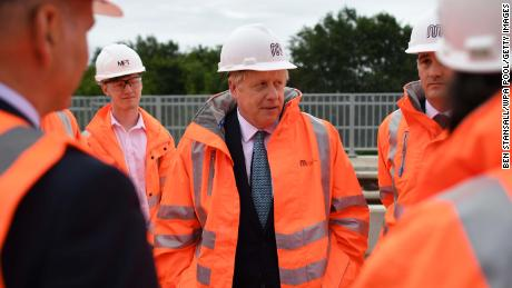 Britain's Prime Minister Boris Johnson meets engineering graduates in Manchester, England.