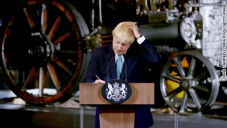MANCHESTER, ENGLAND - JULY 27: Britain's Prime Minister Boris Johnson during a speech on domestic priorities at the Science and Industry Museumon July 27, 2019 in Manchester, England. The PM announced that the government will back a new rail route between Manchester and Leeds. (Photo by Lorne Campbell - WPA Pool/Getty Images)