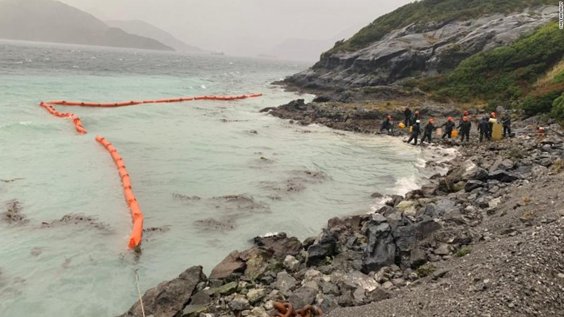 40,000 liters of oil have spilled into the sea off a remote island in Chile's pristine Patagonia