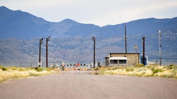 "RACHEL, NEVADA - JULY 22:  The back gate is seen at the top-secret military installation at the Nevada Test and Training Range known as Area 51 on July 22, 2019 near Rachel, Nevada. A Facebook event entitled, ""Storm Area 51, They Can't Stop All of Us,"" which the author stated was meant as a joke, calls for people to storm the highly classified U.S. Air Force facility on September 20, 2019, to address a conspiracy theory that the U.S. government is conducting tests with space aliens.  (Photo by David Becker/Getty Images)"