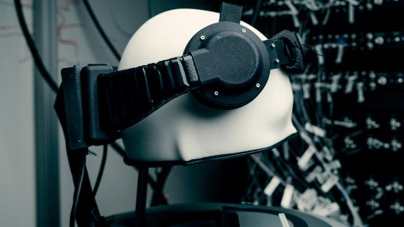 A diffuse optical tomography headset that Facebook's brain-computer interface research team is using to study blood oxygenation in the brain.
