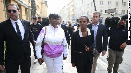 """This is a nightmare!"" A$AP Rocky's mother Renee Black (second from left), told the press at the district court in Stockholm."