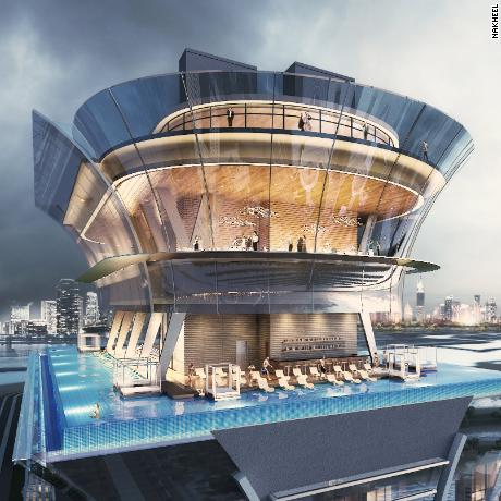 The infinity pool is part of a new Dubai attraction called 'The View at the Palm.' Above the 50th floor pool will be a speciality restaurant and public observation deck, which includes a VIP lounge, interactive museum and gallery.  Scroll through to see CNN's 10 must-visit places in Dubai -- and what to do there.