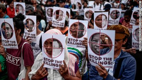 Protesters in the Philippines call on President Rodrigo Duterte to end extrajudicial killings.