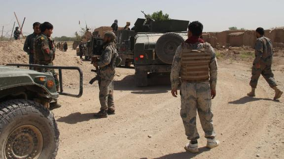 Afghan security officials patrol in Helmand, Afghanistan, 17 May 2019. According to reports the international forces airstrike in southern Helmand province has mistakenly killed at least 17 government forces and wounded 14 others.