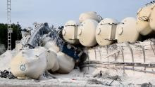 A freight train transporting limestone powder derailed near the town of Marianske Lazne, in the Czech Republic.
