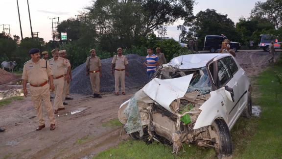 The wreckage of the car the alleged victim was traveling in when it collided with a truck in northern Uttar Pradesh.