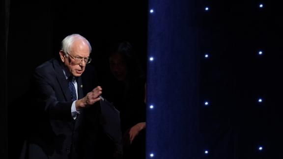 US Sen. Bernie Sanders is seen at the Democratic presidential debate hosted by CNN at the Fox Theater in Detroit on Tuesday, July 30.