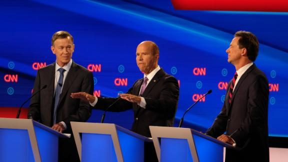 "Delaney speaks during the CNN Democratic debates in July 2019. He came out swinging against US Sen. Bernie Sanders and ""Medicare for All,"" blasting it as a political loser. Sanders, after listening to the attack, replied simply: ""You're wrong."""