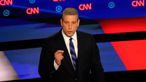 Democratic candidate Tim Ryan speaks at the Democratic presidential debate hosted by CNN at the Fox Theater in Detroit on Tuesday, July 30.