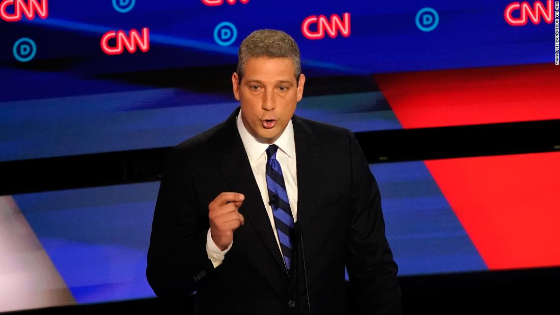 Ryan takes part in the CNN Democratic debates in July 2019.