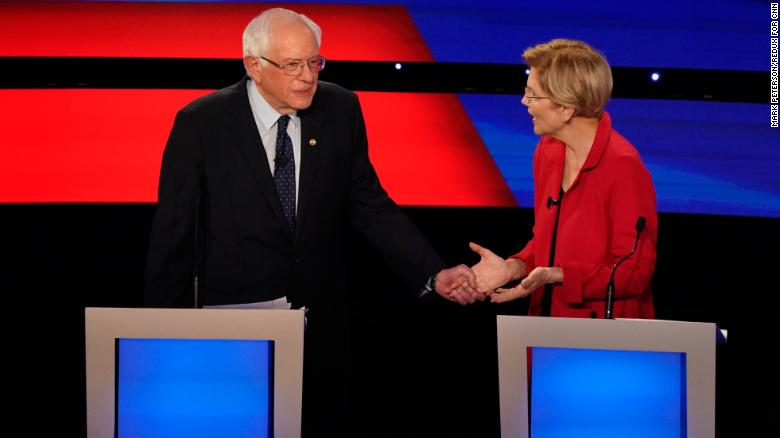 Image result for dnc debate sanders warren